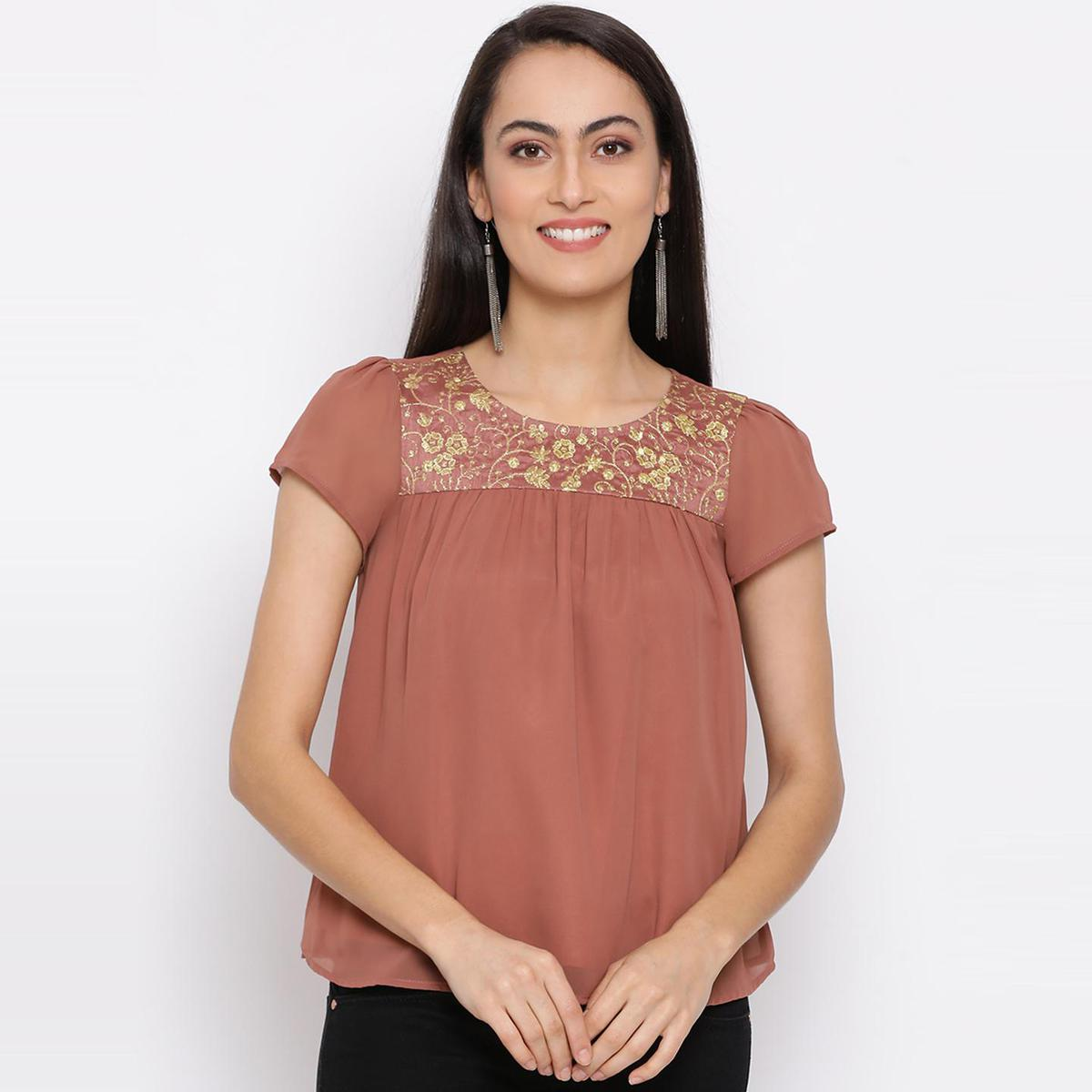 All Ways You - Brown Colored Casual Wear A-line Polyester Flare Top