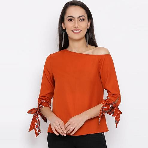 All Ways You - Orange Colored Casual Wear Polyester Top