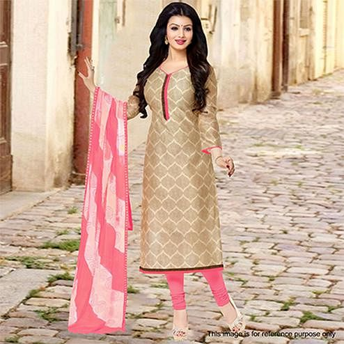Beige Chanderi Unstitched Salwar Suit