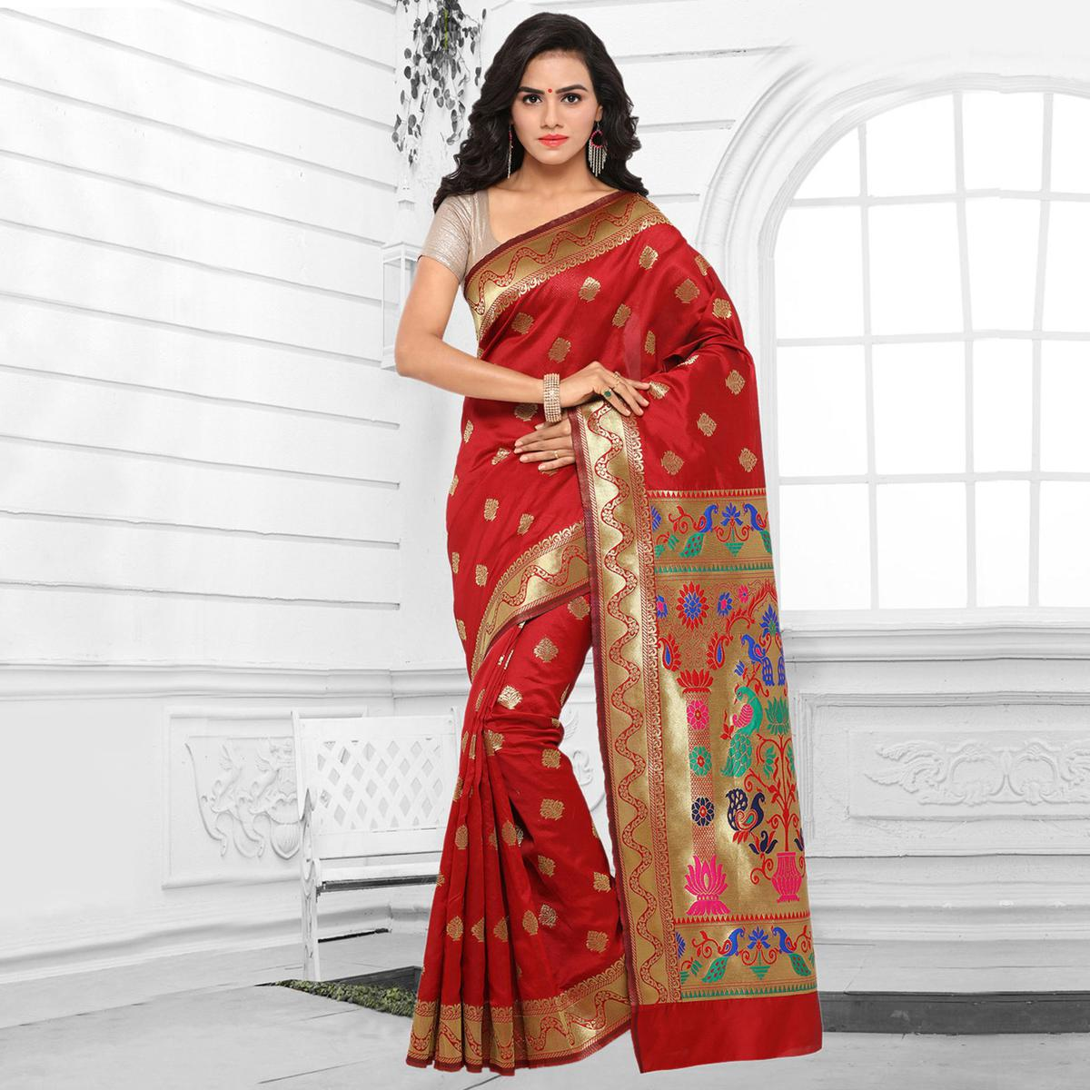 Red Cotton Silk Jacquard Saree