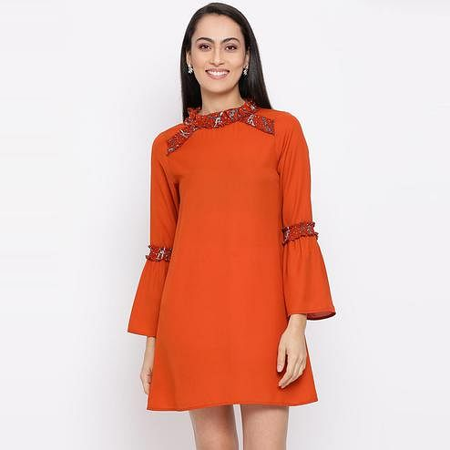 All Ways You - Orange Colored Casual Wear Polyester A-line Dress