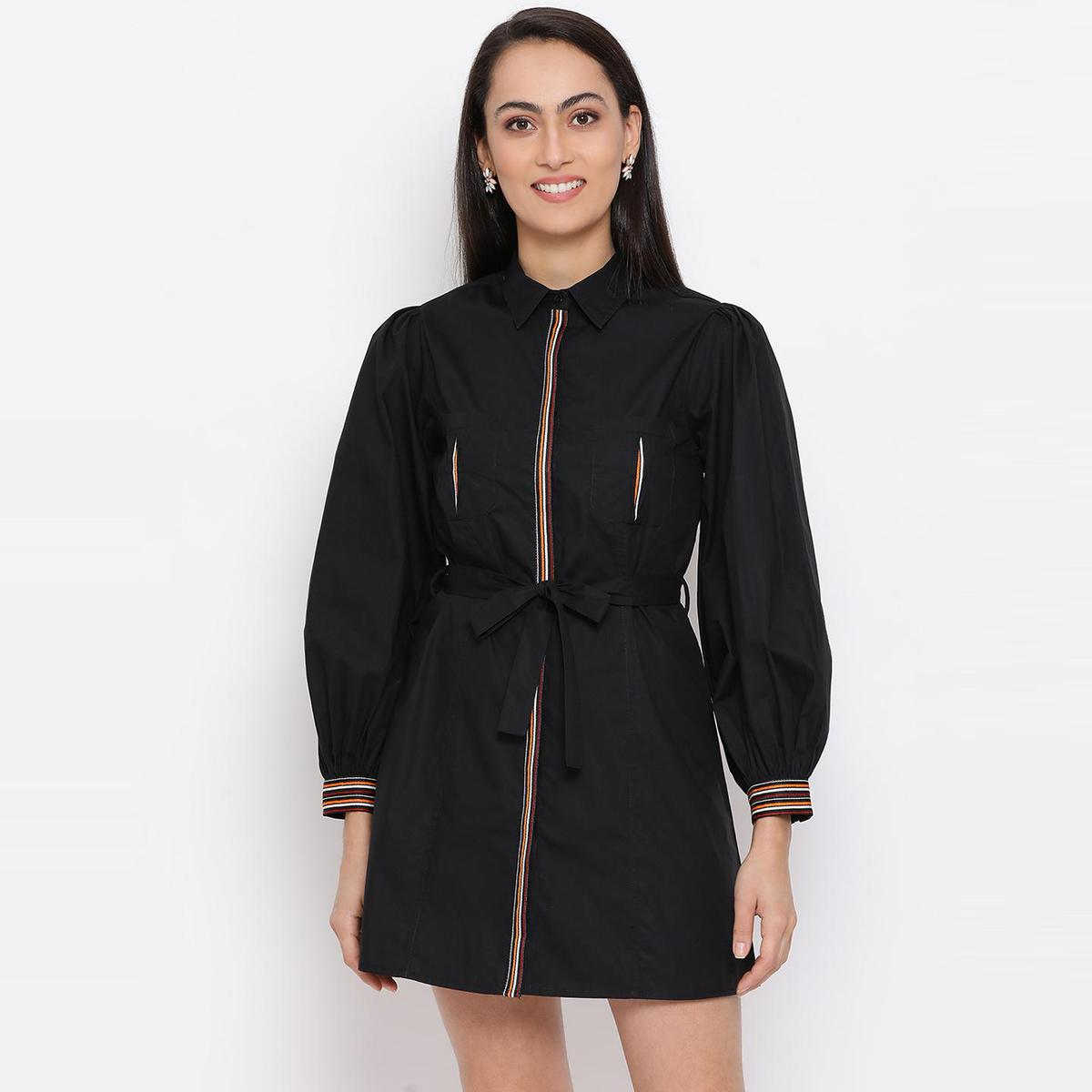All Ways You - Black Colored Casual Wear Cotton A-line Dress