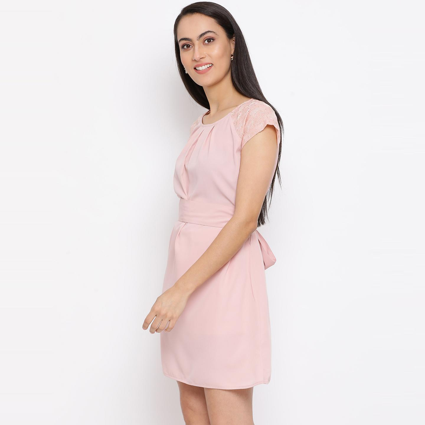 All Ways You - Pink Colored Casual Wear Polyester Skater Dress
