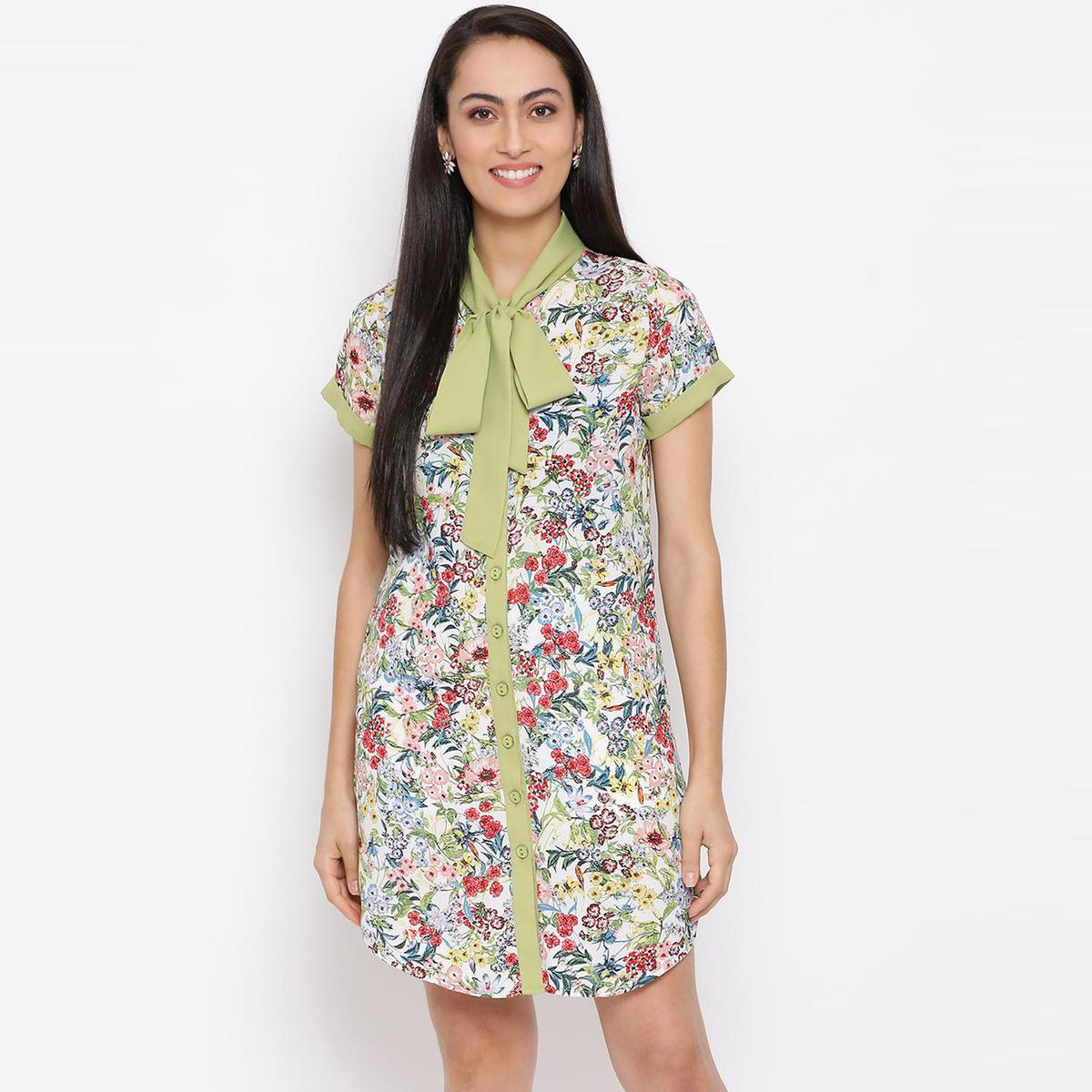 All Ways You - Sea Green Colored Casual Wear Printed  Polyester Dress