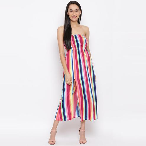 All Ways You - Multi Colored Casual Wear Floral Printed Polyester Tube Dress