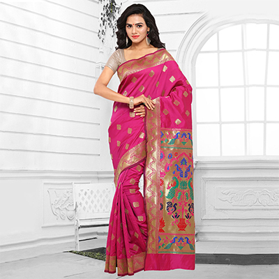 Pink Cotton Silk Jacquard Saree