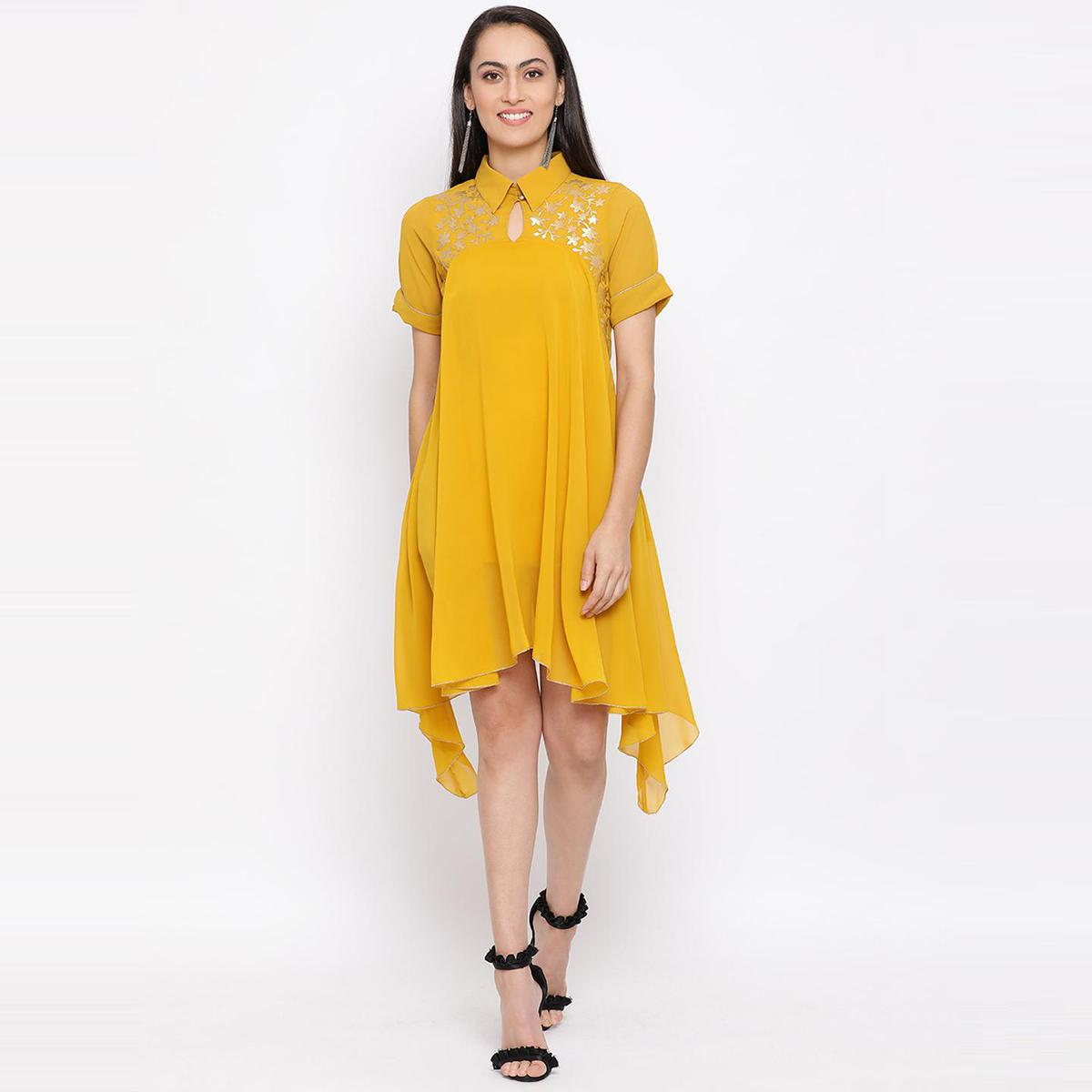 All Ways You - Yellow Colored Casual Wear Polyester Dress