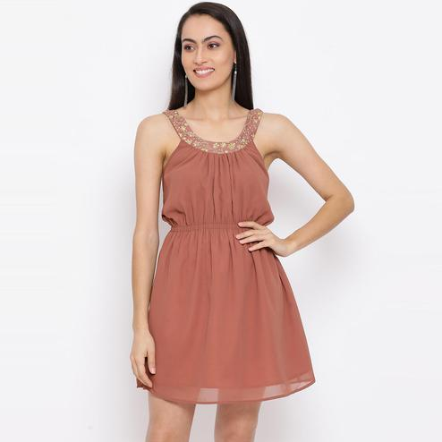 All Ways You - Brown Colored Casual Wear Polyester A-line Dress