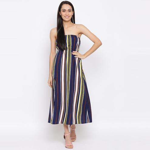 All Ways You - Blue Colored Casual Wear Striped Printed Polyester Tube Dress
