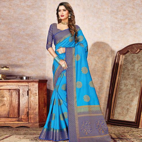 Exotic Blue Colored Festive Wear Woven Cotton Silk Saree