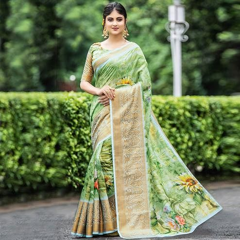 Elegant Green Colored Partywear Digital Printed Organza Saree