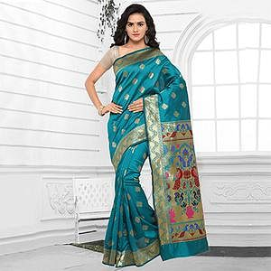 Turquoise Blue Cotton Silk Jacquard Saree