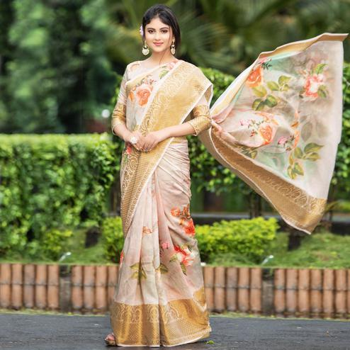 Radiant Pastel Peach Colored Partywear Digital Printed Organza Saree