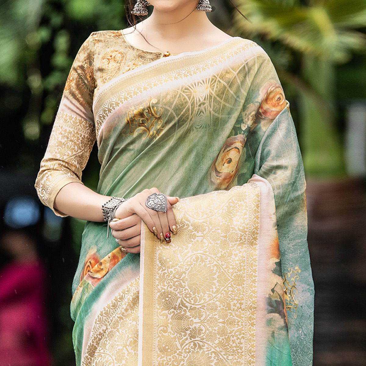 Pleasant Green Colored Partywear Digital Printed Organza Saree