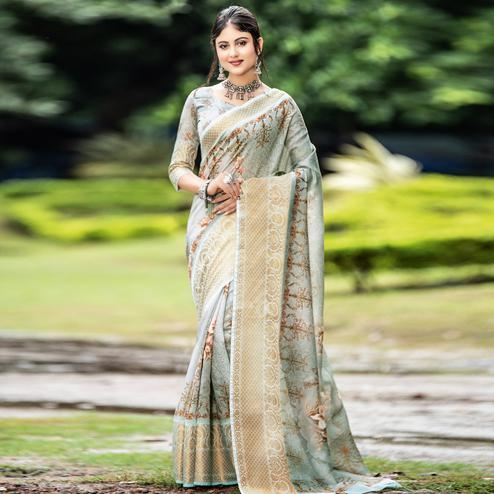 Opulent Grey Colored Partywear Digital Printed Organza Saree
