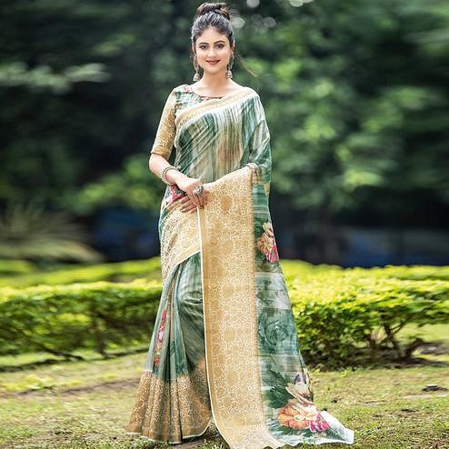 Energetic Green-Beige Colored Partywear Digital Printed Organza Saree
