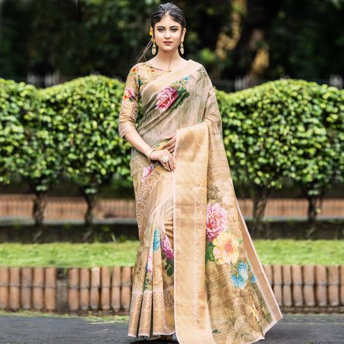 Glowing Beige Colored Partywear Digital Printed Organza Saree