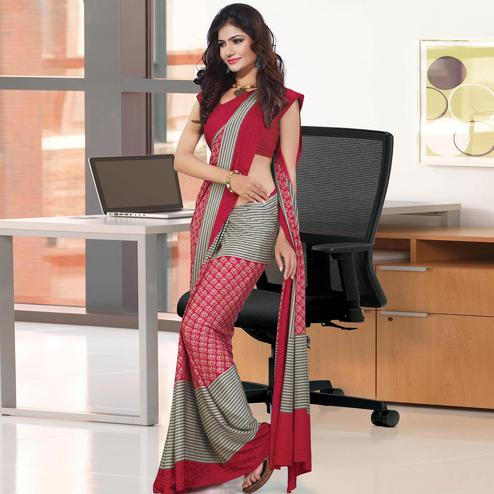 Exceptional Red Colored Casual Wear Printed Crepe Saree