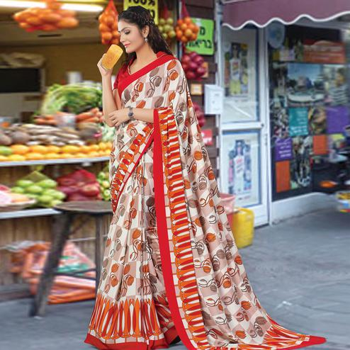 Mesmeric Red-Multi Colored Casual Wear Printed Crepe Saree