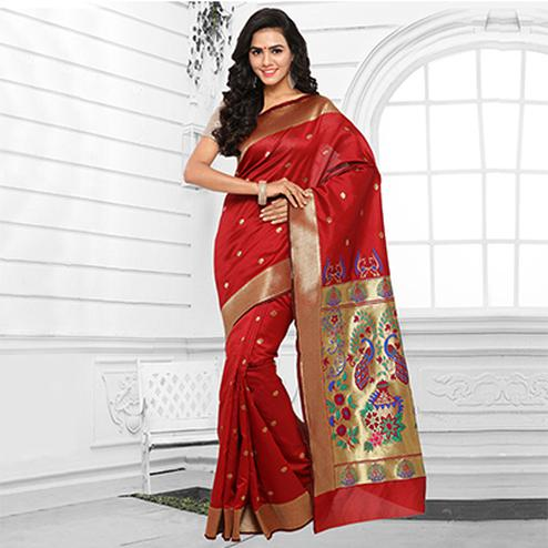 Red Festive Wear Cotton Silk Jacquard Saree
