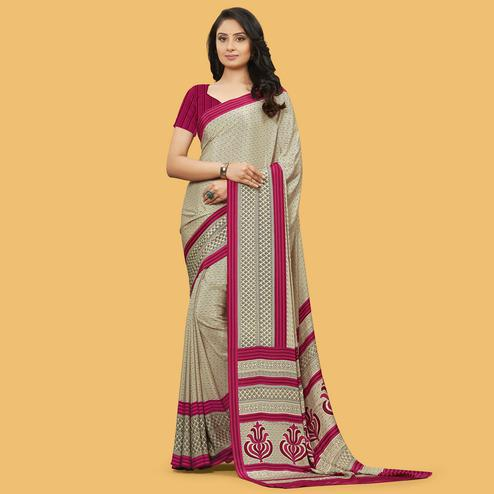 Refreshing Beige Colored Casual Wear Printed Crepe Saree