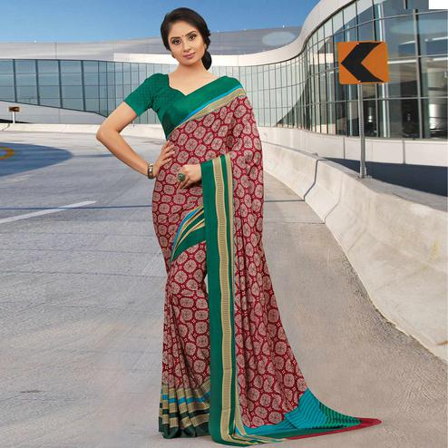 Flattering Red Colored Casual Wear Printed Crepe Saree