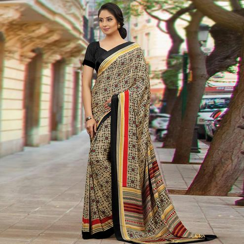 Excellent Beige Colored Casual Wear Printed Crepe Saree