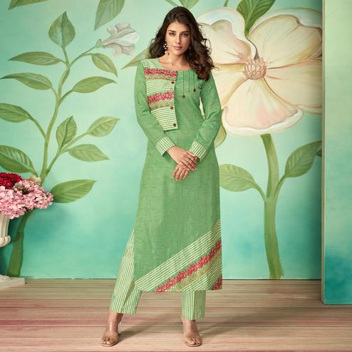 Marvellous Green Colored Party Wear Embroidered Cotton Silk Kurti-Pant Set