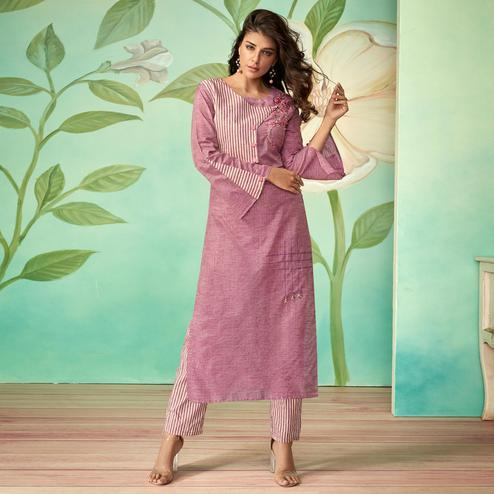 Flamboyant Purple Colored Party Wear Embroidered Cotton Silk Kurti-Pant Set