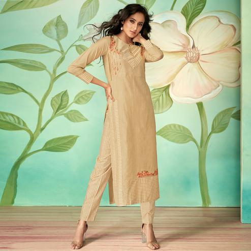 Pretty Beige Colored Party Wear Embroidered Cotton Silk Kurti-Pant Set