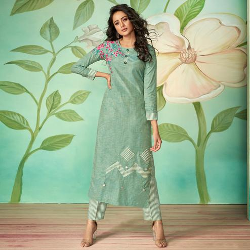 Alluring Aqua Green Colored Party Wear Embroidered Cotton Silk Kurti-Pant Set