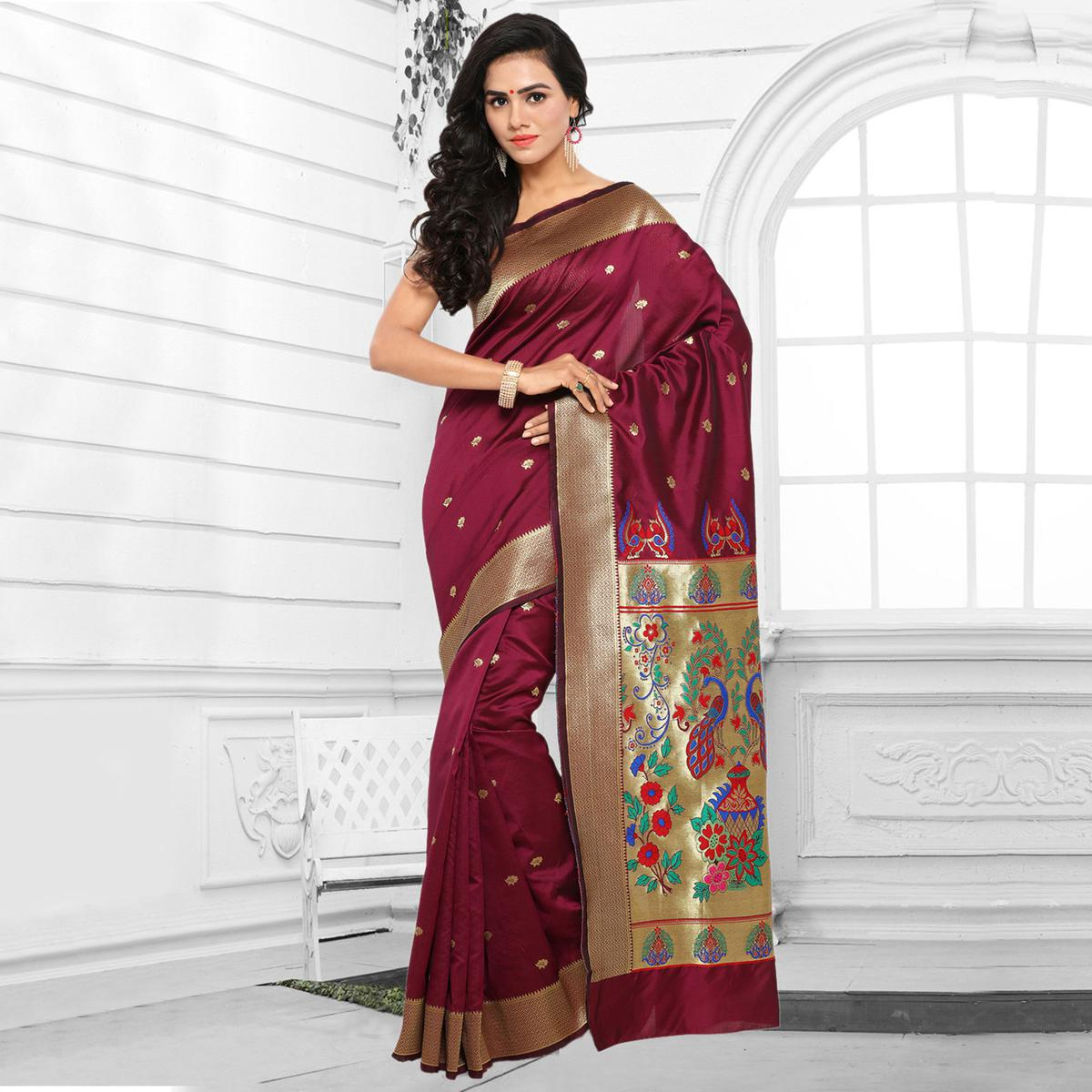 Wine Color Festive Wear Cotton Silk Jacquard Saree