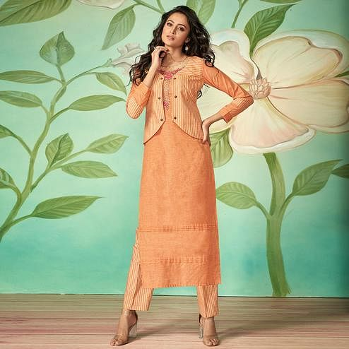 Sensational Orange Colored Party Wear Embroidered Cotton Silk Kurti-Pant Set