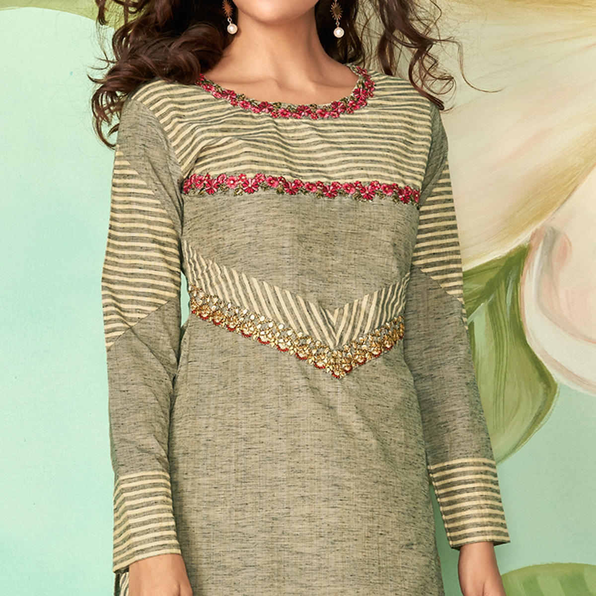 Flaunt Pastel Green Colored Party Wear Embroidered Cotton Silk Kurti-Pant Set