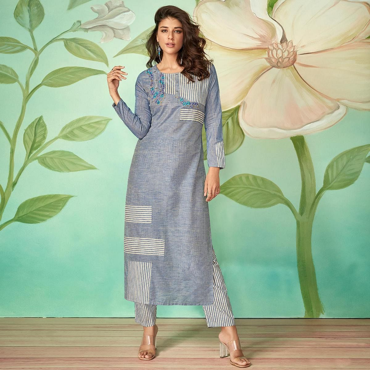 Stunning Blue Colored Party Wear Embroidered Cotton Silk Kurti-Pant Set