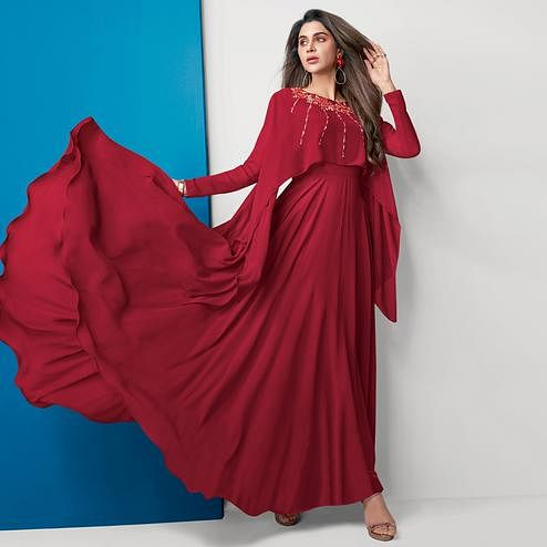 Pleasance Red Colored Partywear Embroidered Georgette Gown