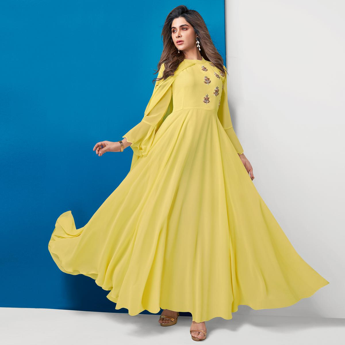 Breathtaking Light Yellow Colored Partywear Embroidered Georgette Gown