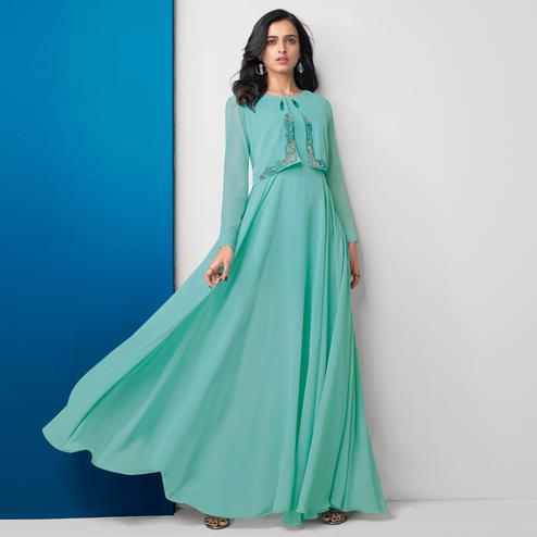 Ethnic Auqa Blue Colored Partywear Embroidered Georgette Gown