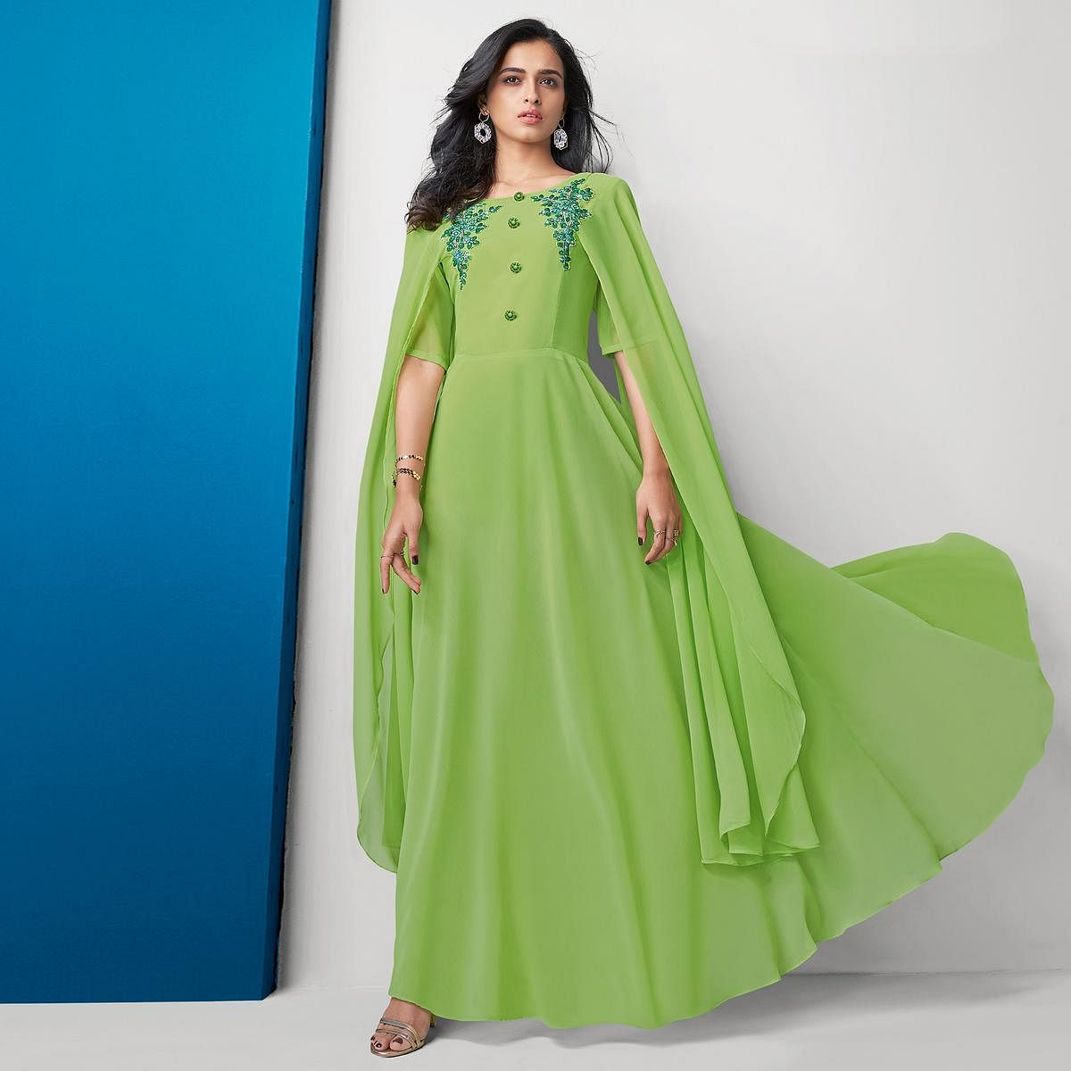 Ravishing Green Colored Partywear Embroidered Georgette Gown