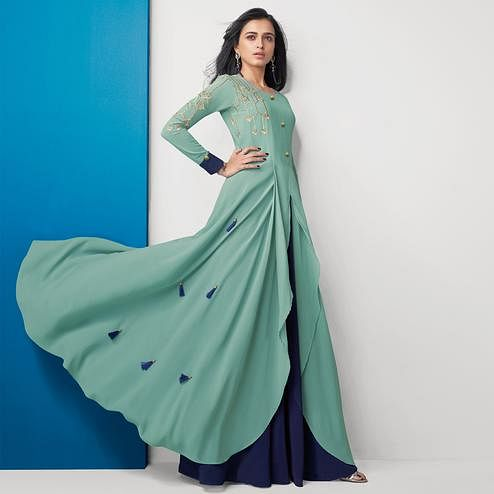 Staring Aqua Green Colored Partywear Embroidered Georgette Gown