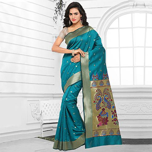 Turquoise Blue Festive Wear Cotton Silk Jacquard Saree