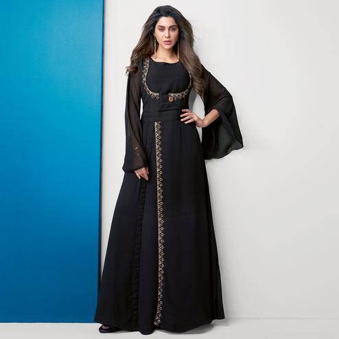 Dazzling Black Colored Partywear Embroidered Georgette Gown