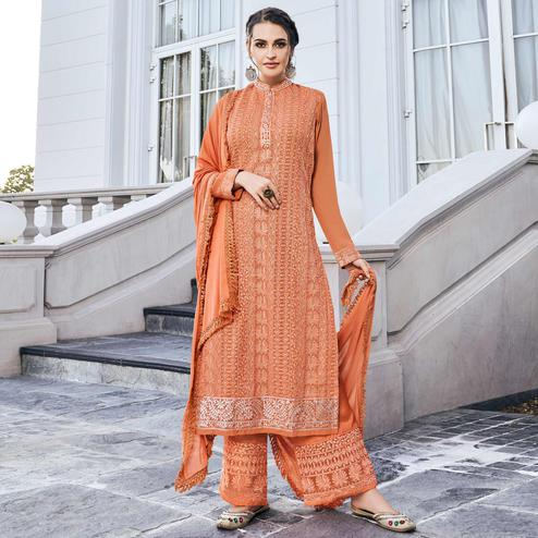 Adorable Orange Colored Partywear Embroidered Georgette Palazzo Suit