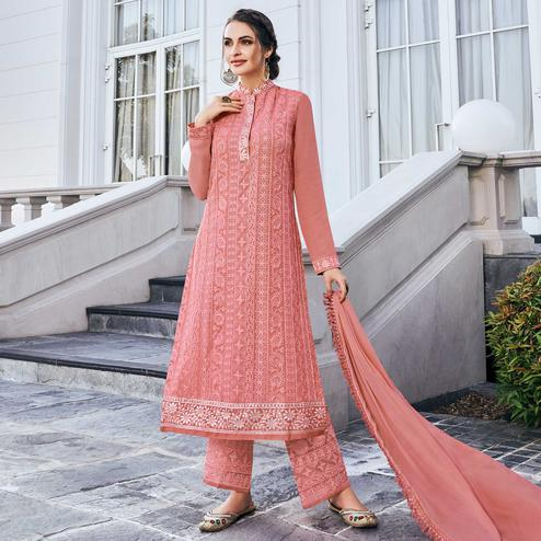 Graceful Peach Colored Partywear Embroidered Georgette Palazzo Suit