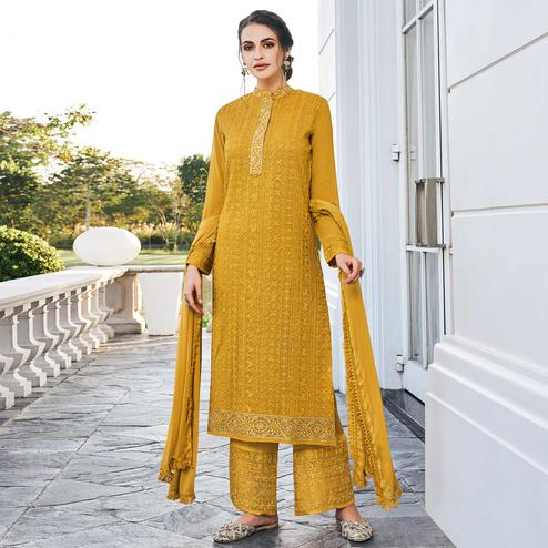 Blooming Yellow Colored Partywear Embroidered Georgette Palazzo Suit