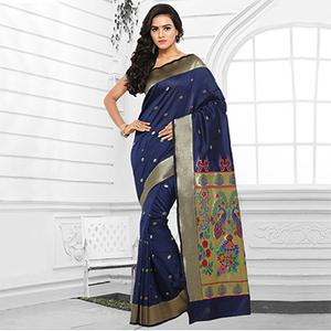 Blue Festive Wear Cotton Silk Jacquard Saree
