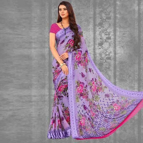 Eye-catching Purple Colored Casual Wear Floral Printed Chiffon Saree