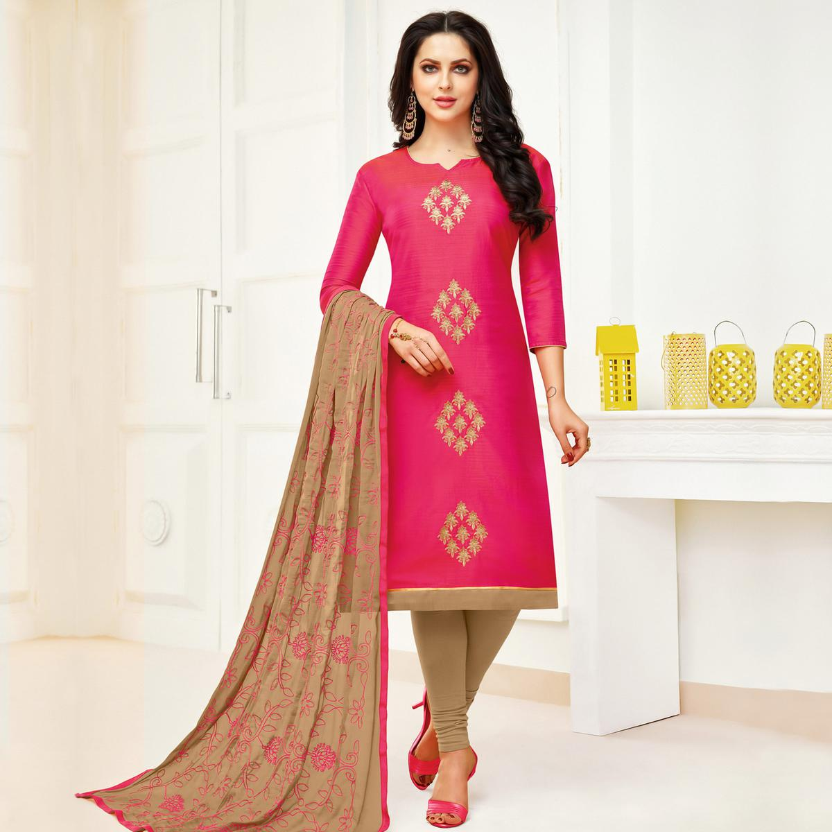 Glorious Pink Colored Party Wear Embroidered Banarasi Silk Dress Material