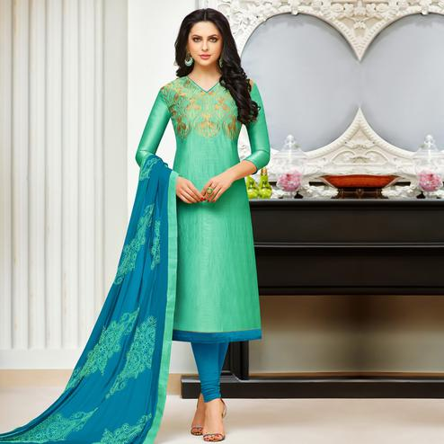 Attractive Sea Green Colored Party Wear Embroidered Banarasi Silk Dress Material