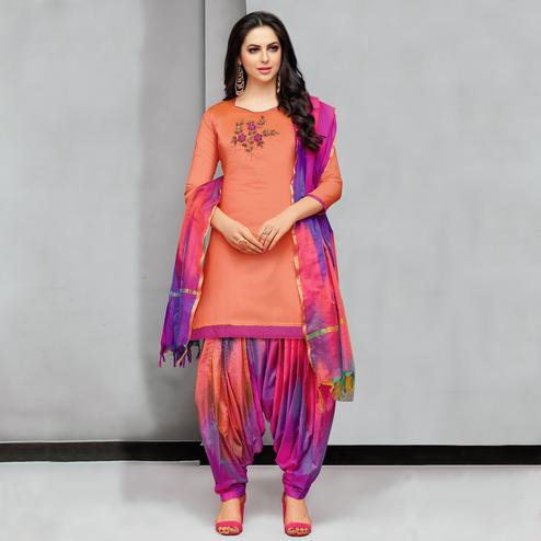Beautiful Light Orange Colored Party Wear Embroidered Silk Dress Material
